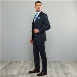 Navy Checked 3-Piece Tailored Fit Trouser