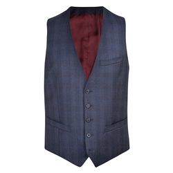 Magee 1866 Navy Checked 3-Piece Tailored Fit Waistcoat