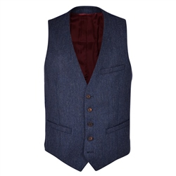 Blue Donegal Tweed 3-Piece Tailored Fit Suit Waistcoat