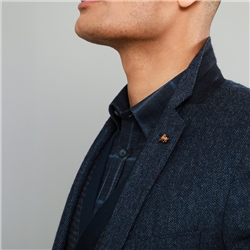 Navy Herringbone Donegal Tweed Classic Fit Jacket