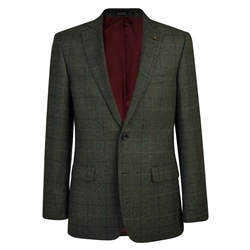 Green Herringbone Donegal Tweed Classic Fit Jacket