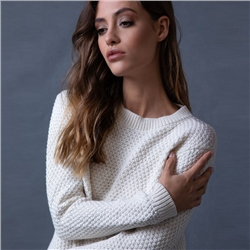 Magee 1866 White Waffle Crew Neck Sweater