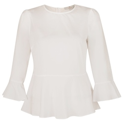 Magee 1866 White Anne 3/4 Length Sleeve Top