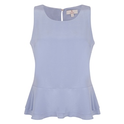 Magee 1866 Blue Darcy Peplum Silk Top
