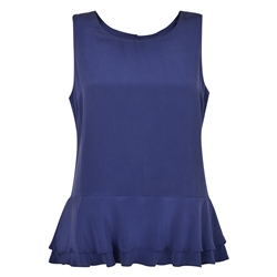 Magee 1866 Navy Darcy Peplum Silk Top