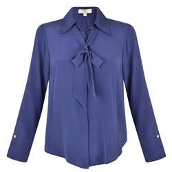Magee 1866 Navy Mila Silk Blouse