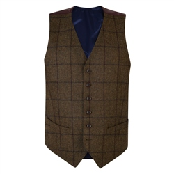 Magee 1866 Green Country Checked Classic Fit Waistcoat