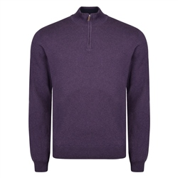 Magee 1866 Purple Carn Cotton 1/4 Zip Neck Jumper