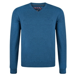 Magee 1866 Teal Carn Cotton V Neck Jumper