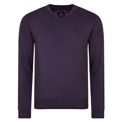 Magee 1866 Purple Carn Cotton V Neck Jumper