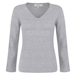 Magee 1866 Silver V-Neck Cashmere Sweater