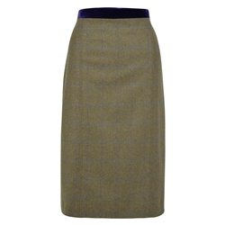 Green Dana Country Check Tailored Fit Pencil Skirt