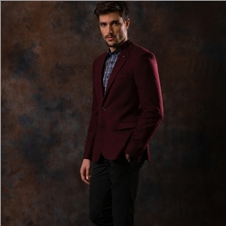 Magee 1866 Maroon Hopsack Weave Tailored Fit Jacket