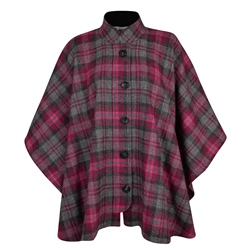 Magee 1866 Pink Sorcha Checked Donegal Tweed Cape