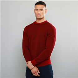 Magee 1866 Red Altcore Herringbone Merino Crew Neck Jumper