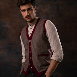 Magee 1866 Red Darney Tweed Knitted Waistcoat