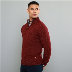 Magee 1866 Red Tamur Donegal Fleck 1/4 Zip