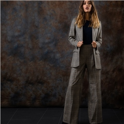 Magee 1866 Brown Willow Checked Donegal Tweed wide leg trousers