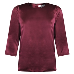 Magee 1866 Aubergine Faye Satin Silk Top