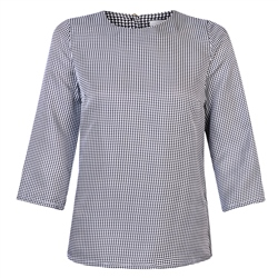 Blue & White Faye Houndstooth Silk Top