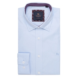 Magee 1866 Blue Balbane Jacquard Classic Fit Shirt