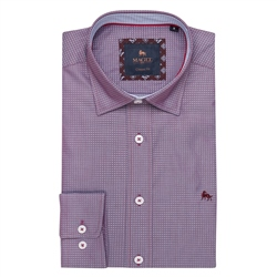 Magee 1866 Maroon Balbane Print Classic Fit Shirt