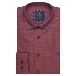 Magee 1866 Red Balbane Print Classic Fit Shirt