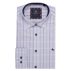 Magee 1866 Blue Balbane Checked Classic Fit Shirt