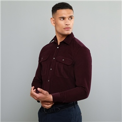 Magee 1866 Maroon Drumbar Needlecord Tailored Fit Shirt