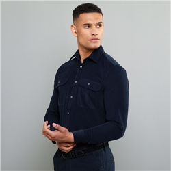 Magee 1866 Navy Drumbar Needlecord Tailored Fit Shirt