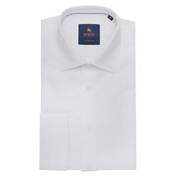 Magee 1866 White Formal Dress Collar Double Cuff Tailored Fit Shirt