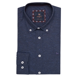 Magee 1866 Navy Rarooey Flecked Button Down Tailored Fit Shirt