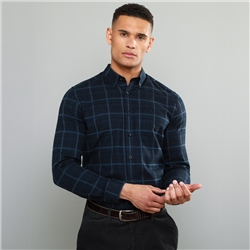 Magee 1866 Navy Rarooey Button Down Check Tailored Fit Shirt