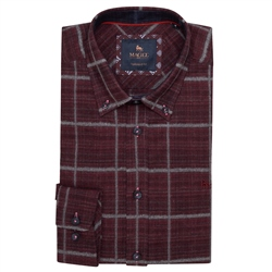 Magee 1866 Maroon Rarooey Button Down Check Tailored Fit Shirt