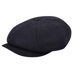 Magee 1866 Navy Herringbone Donegal Tweed Baker Cap