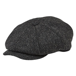 Magee 1866 Grey Herringbone Donegal Tweed Baker Cap