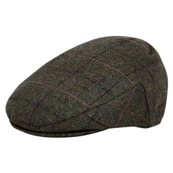 Magee 1866 Green Herringbone Donegal Tweed Flat Cap