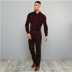 Magee 1866 Dark Brown Dungloe Mill-washed Look Classic Fit Trouser