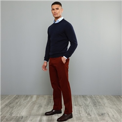 Magee 1866 Maroon Dungloe Washed Look Classic Fit Trouser