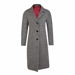 Magee 1866 Black & White Alexa Herringbone Donegal Tweed Coat
