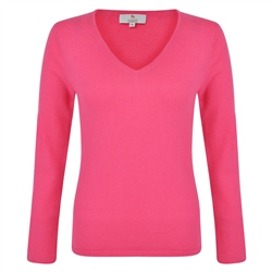 Magee 1866 Cerise V-Neck Cashmere Sweater