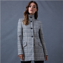 Magee 1866 Black & White Linsford Checked Coat