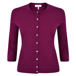 Magee 1866 Plum Beatrice Tailored Fit Cardigan