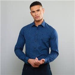 Magee 1866 Navy Dunross Printed Tailored Shirt