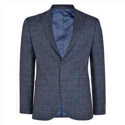 Blue Checked Peak Edge Donegal Tweed 3-Piece Tailored Fit Suit