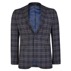 Navy-Brown Prince of Wales Check 3-Piece Tailored Fit Suit