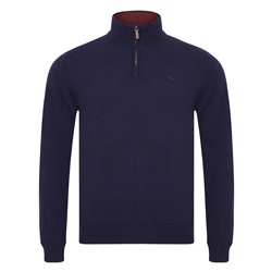 Magee 1866 Navy Lunnaigh Lambswool 1/4 Zip