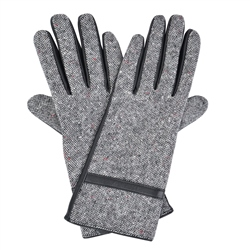 Grey Clogher Donegal Tweed Gloves