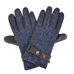 Navy Farnagh Donegal Tweed Gloves