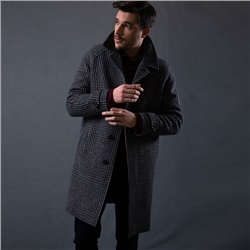 Magee 1866 Dark Chocolate Brown Erne Oversized Glencheck Raglan Coat